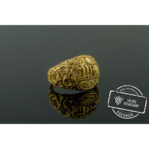 Drakkar Symbol Ring with Urnes Style Gold Viking Jewelry