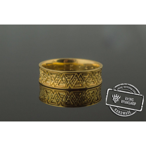Ring with Valknut Symbol Gold Viking Jewelry