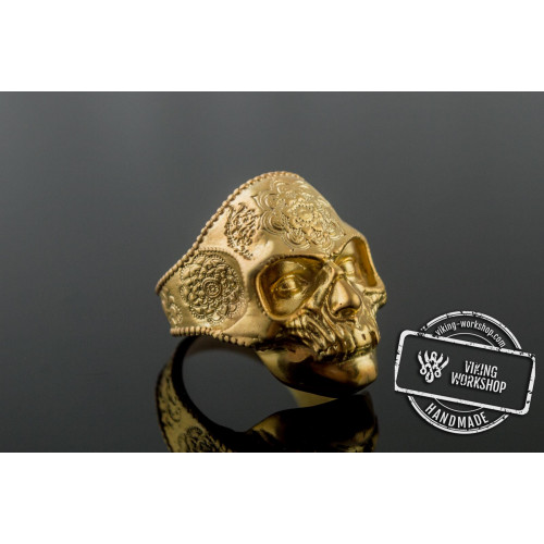 Skull Mask Ring with Ornament Gold Unique Norse Jewelry
