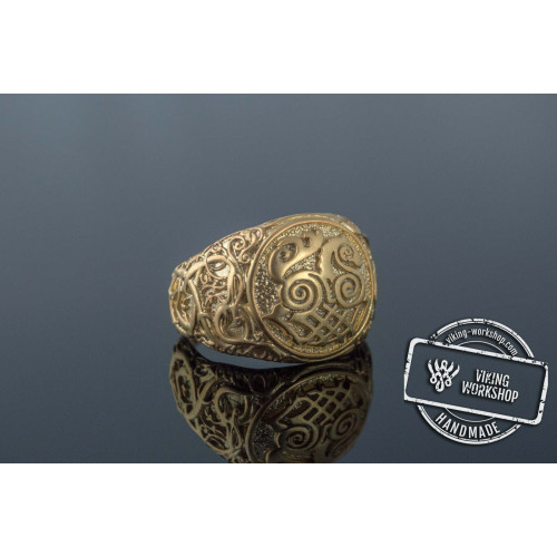 Sleipnir Symbol Ring with Urnes Style Gold Viking Jewelry