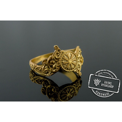Ring with Helm of Awe Symbol and Wolf Ornament Gold Viking Jewelry