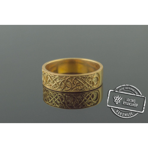 Urnes Ornament Ring Gold Handcrafted Jewelry