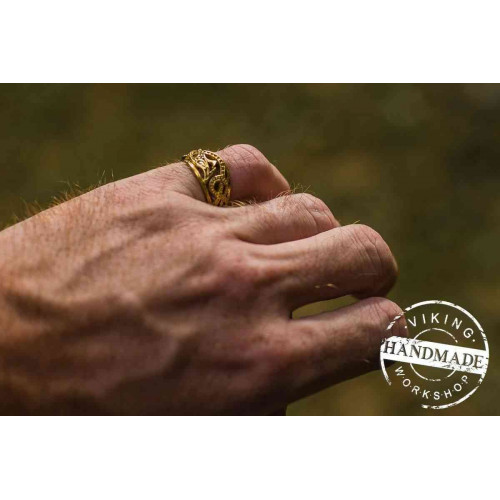 Jormungandr Ring 14K Yellow Gold Handcrafted Norse Jewelry