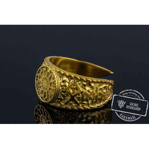 14K Gold Black Sun Ring with HAIL ODIN Runes Viking Jewelry