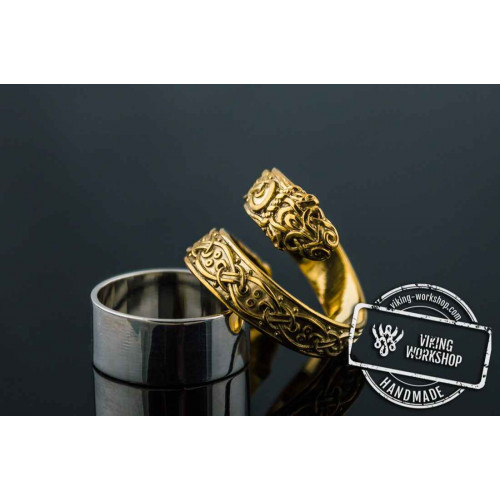 14K Ouroboros Ring with Viking Ornament Norse Jewelry