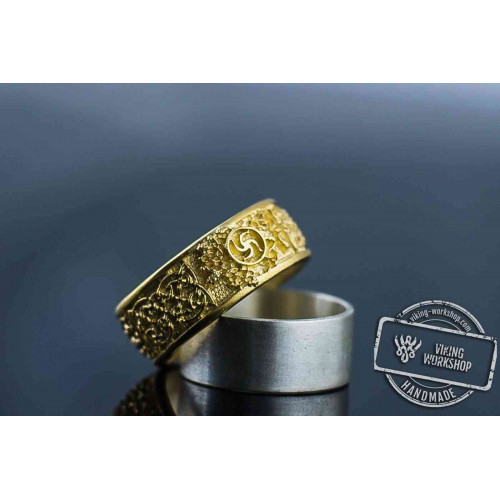 14K Gold Slavic Ornament Unique Ring