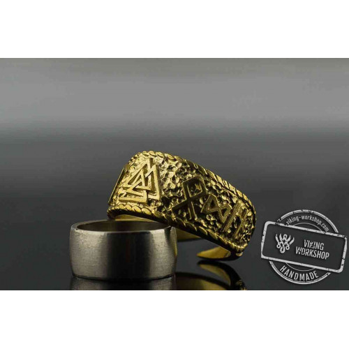 14K Gold Valknut Symbol Ring with HAIL ODIN Runes Viking Jewelry
