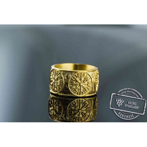 14K Gold Vegvisir Runic Compass Norse Ring Viking Jewelry