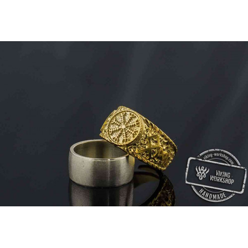 14K Gold Helm of Awe Symbol with  Odin Runes Handcrafted Viking Ring