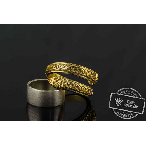 14K Gold Jormungand Ring with Viking Ornamen Pagan Jewelry