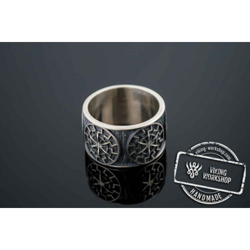 Black Sun Symbol Ring Sterling Silver Norse Jewelry