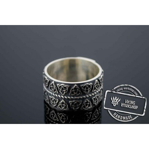 Celtic Ring with Triquetra Symbols Sterling Silver Pagan Jewelry