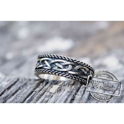 Unique Viking Ring with Norse Ornament Sterling Silver Handcrafted Jewelry