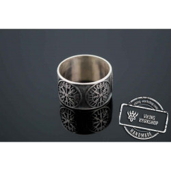 Vegvisir Runic Compass Sterling Silver Norse Ring