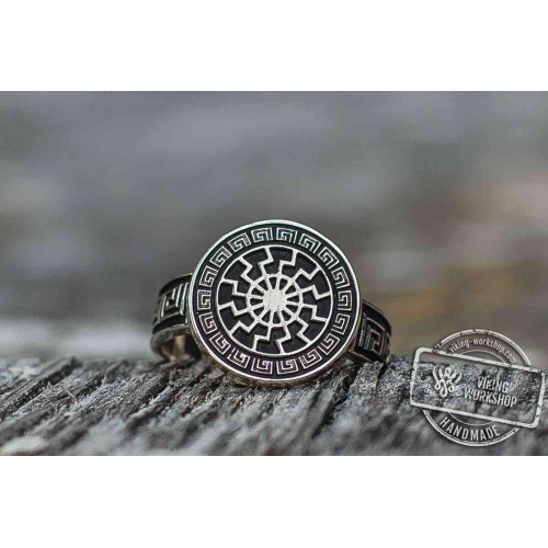 Black Sun Ring with Viking Ornament  Scandinavian Jewelry