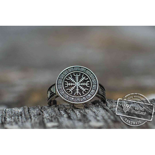 Helm of Awe Symbol with Viking Ornament Norse Jewelry