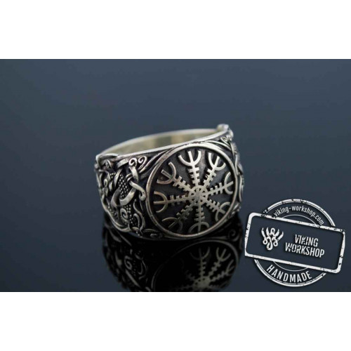 Helm of Awe Ring with Mammen Ornament Sterling Silver Viking Jewelry