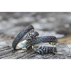 Jormungand Ring with Viking Ornament  Sterling Silver Viking Jewelry