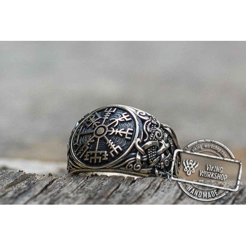 Vegvisir Symbol with Mammen Style Sterling Silver Norse Ring