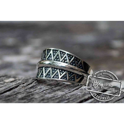 Pagan Ring with Ornament Sterling Silver Viking Jewelry