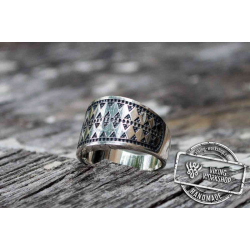 Norse Ring with Ornament Sterling Silver Viking Jewelry