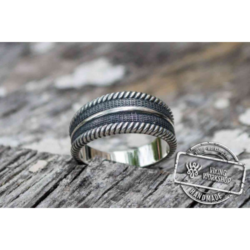 Viking Ring with Ornament Sterling Silver Pagan Ring