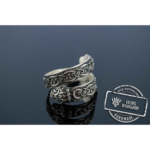 Ouroboros Ring with Viking Ornament Sterling Silver Norse Jewelry
