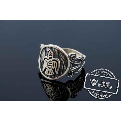 Raven Ring with Viking Ornament Sterling Silver Norse Jewelry