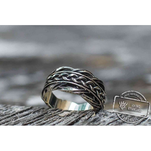 Unique Ring with Viking Ornament  Scandinavian Jewelry