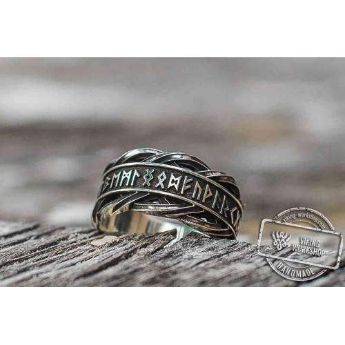 Unique Ring with Elder Futhark Runes Norse Jewelry
