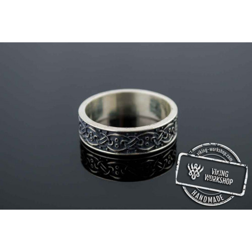 Viking Ring with Scandinavian Ornament Sterling Silver Unique Jewelry