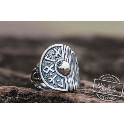 Viking Shield With Runes and Wooden Texture Sterling Silver Pagan Ring