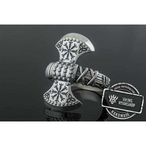 Axe Ring with Helm of Awe Symbol Sterling Silver Viking Jewelry