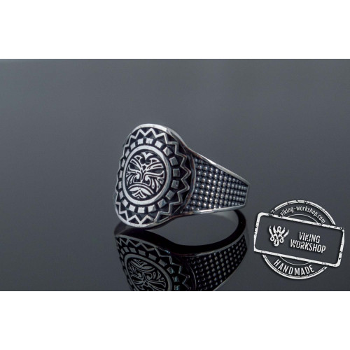 Aztec Ornament Ring Sterling Silver Handmade Jewelry