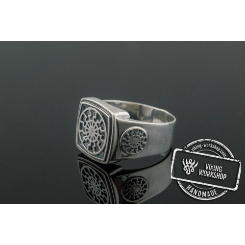 Black Sun Ring Sterling Silver Scandinavian Jewelry