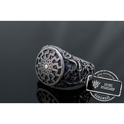 Black Sun Symbol with Urnes Style Sterling Silver Norse Ring