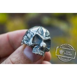 Clown Skull Ring Sterling Silver Unique Handmade Jewelry