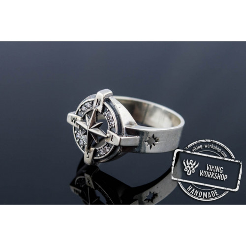 Compass Symbol Ring with Gem Sterling Silver Unique Jewelry