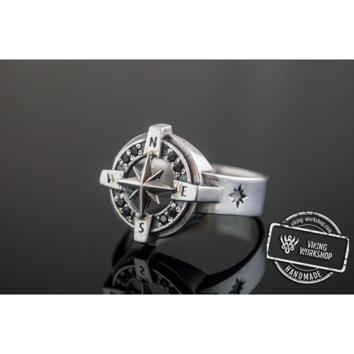 Compass Symbol Ring with Black Gem Sterling Silver Unique Jewelry