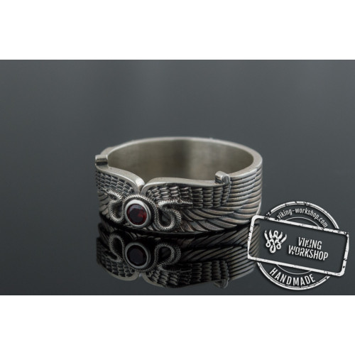 Egypt Ring with Snake Symbol and Cubic Zirconia Sterling Silver Unique Jewelry