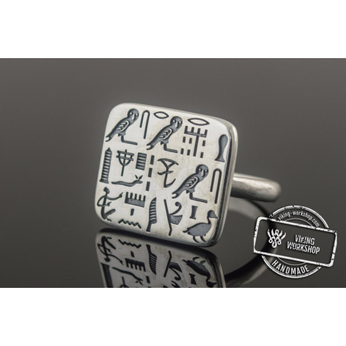 Unique Ring with Egypt Symbols Sterling Silver Jewelry
