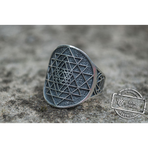 Geometry Symbol Ring Sterling Silver Unique Jewelry