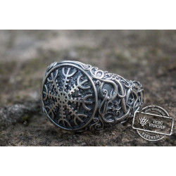 Helm of Awe Symbol with Urnes Style Sterling Silver Norse Ring