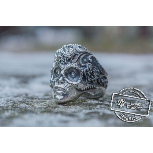 Mask  Ring with Flower Ornament Sterling Silver Unique Handmade Jewelry