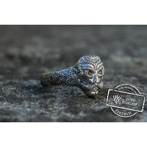 Mask Ring with Norse Ornament Ring Sterling Silver Unique Handmade Jewelry