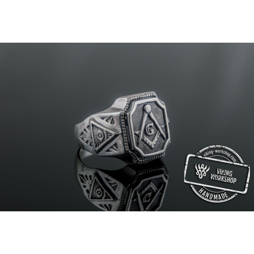 Masonic Symbol Ring Sterling Silver Handcrafted Unique Jewelry