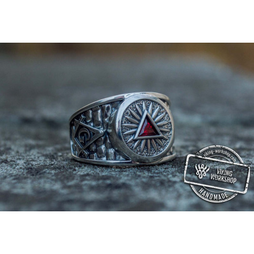 Masonic Ring with Red Cubic Zirconia Sterling Silver Handcrafted Jewelry