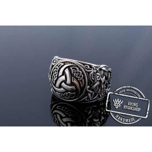 Odin Horn Symbol Ring with Mammen Ornament Sterling Silver Viking Jewelry