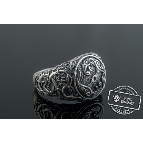 Odin Raven Symbol Ring with Urnes Style Sterling Silver Viking Jewelry