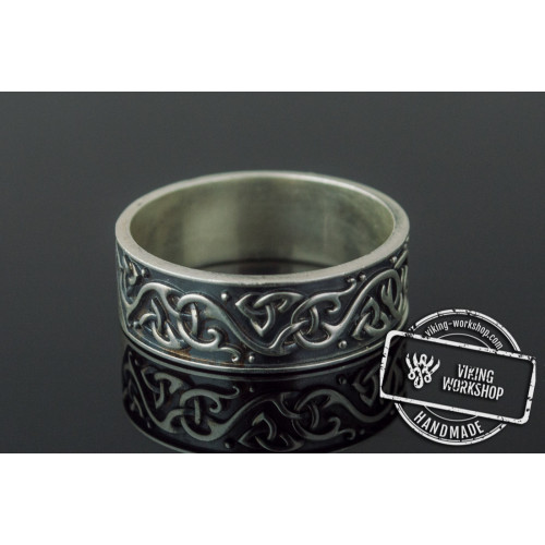 Beautiful Ornament Ring Sterling Silver Viking Jewelry